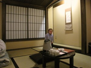 We slept on the floor on tatami mats in Kyoto.  She was in heaven!