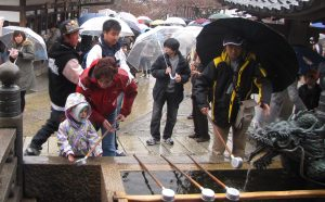 Washing hands in the sacred spring before entering Kiyomizu-dera temple in Kyoto