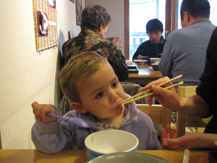 Noodles and chopsticks. Perfect for toddlers.