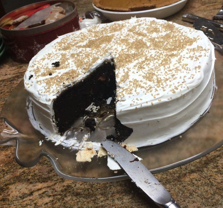 black cake crumb