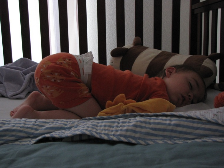 Again, keep in mind this is a toddler sleeping. Always follow the rules for safe infant sleep.